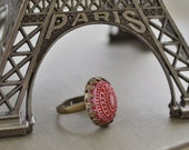 Red and White Lucite Adjustable Ring, Etched Vintage Cabochon, Antiqued Brass Crown Ring