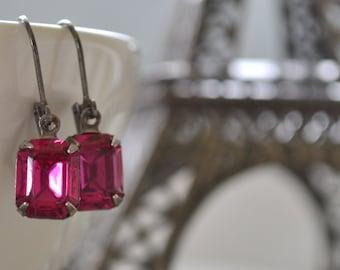 Hot Pink Rhinestone Earrings, Fuchsia Rhinestone, Pink Glass Earrings, Gunmetal, Lever Back, Fuchsia Bridesmaid Earrings Hot Pink Bridal Set