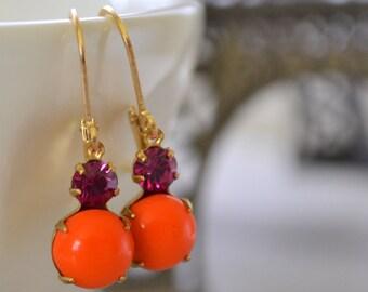 Orange and Fuchsia Glass Estate Earrings, Lever Back Brass, Vintage Hot Pink and Tangerine Rhinestone Earrings