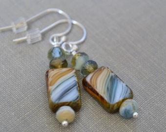 Beach Earrings, Brown Turquoise Beach Glass Earrings, Sterling Silver Lever Back Earrings