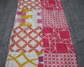 Modern Pink and Gray Crib Quilt for a Baby Girl