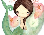 Mermaid Print Nautical Starfish Girl Wall Art---Coral The Mermaid 11 x 14