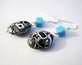 Black and White Mosaic Stone and Blue Vintage German Glass Earrings