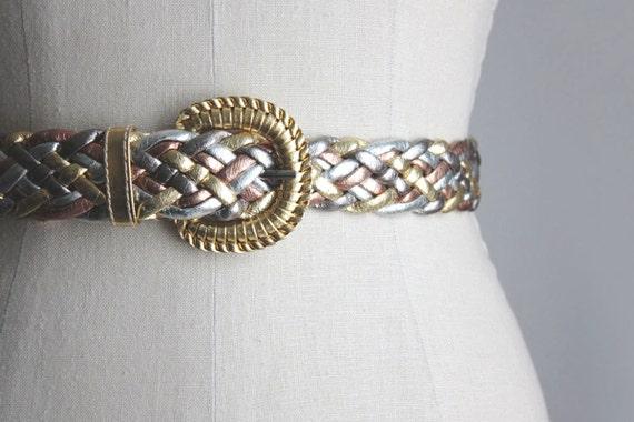 GOLD BELT 1980s Vintage Tri Color Gold Metallic Woven Belt