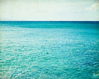 "Beach ocean photography print, aqua teal blue water sky horizon seascape beach cottage decor nautical art  ""Smooth Sailing"""