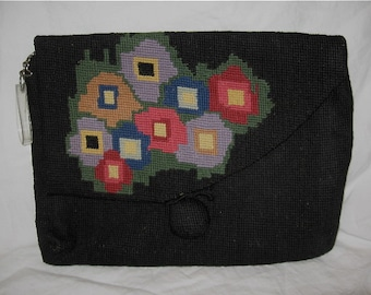 vintage 30s 40s Art Deco geometric floral handmade needlepoint clutch purse