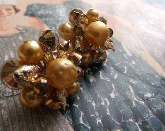 Vintage Vendome 50s Sparkling Earrings Gold Cluster Clip On Pearls Leaves Strawberries Hollywood Regency