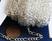 45 ft of Silver Plated Figaro Chain 5x8.6mm - Open Link