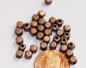 100 pcs of antique Copper  square cube beads 4mm