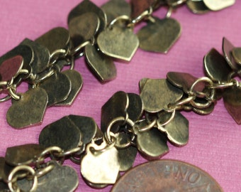 Antique brass chain with heart drops 7mm one foot