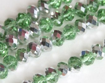 16 inch Strand of electro plated glass faceted rondelle beads 5X8mm Silver green