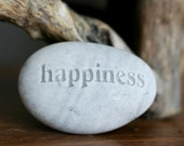Happiness pebble - Engraved Inspirational Word on Rock - Ready Gift by sjEngraving
