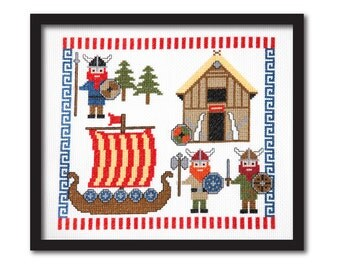 Cute Vikings Cross Stitch Pattern Instant Download