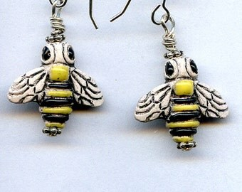 Honey Bees Sterling Silver Earrings