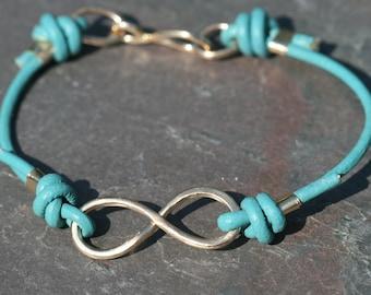 Infinity Turquoise Bracelet, Gold Eternity Bracelet, Leather Infinity Bracelet, Men's Women's, 7 inch Blue Bracelet by Maggie McMane Designs