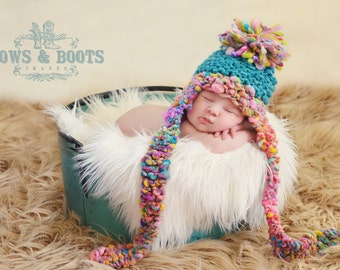 NEWBORN Baby Photography Prop - Knit Aviator Hat - Earflap - Handdyed and Handspun yarn