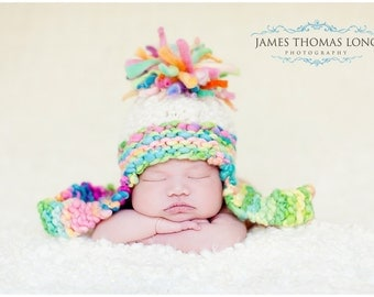 NEWBORN Baby Photography Prop - Knit Hat - Aviator - Earflap - Handdyed and Handspun yarn
