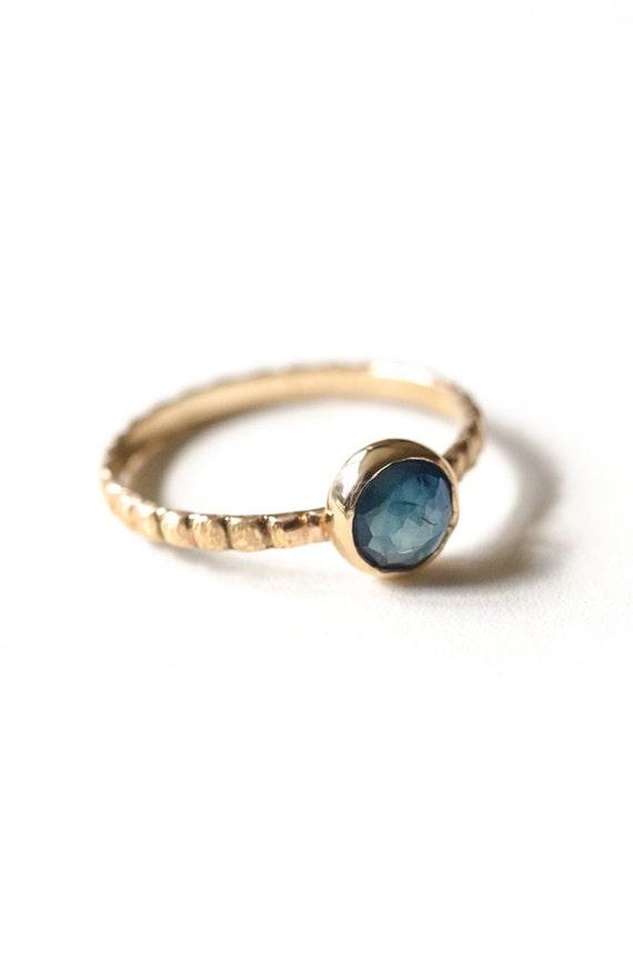 Gold Sapphire Ring - September Birthstone - 14kt