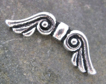 Angel Wing Beads Silver Wing Beads Spacers Antiqued Silver 1379 - 6 Pieces - New