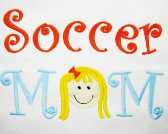 CANVAS TOTE Bag Soccer Mom with Boy or Girl