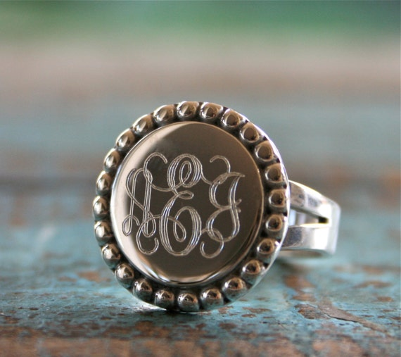 sterling silver monogram ring engraved ring id ring by
