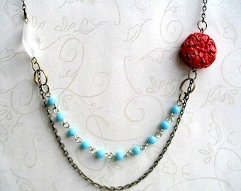 Red, white and blue necklace - turquoise beaded chain, red cinnabar bead