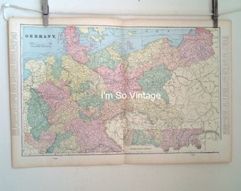 antique double page map Germany 1899