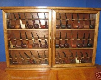 Pipe rack cabinet Smoking Tobacco Pipe Cabinet Rack Stand 42 Pipe Rack Display Churchwarden Item 190