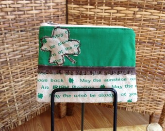 Saint Patricks Day Irish Blessing Green Clover Small Zip Pouch