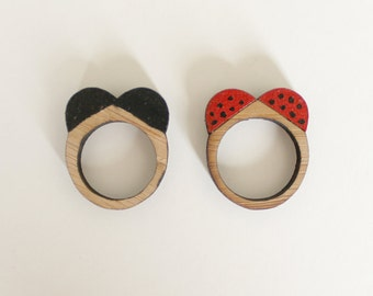 Wooden Ring  . Ladybird Ladybug Beetle . Wooden Jewelry Jewellery . Insect Lover . Entomology Entomophile . Gift for Her . Gift for Teens