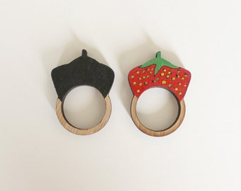Strawberry Wooden Ring