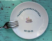 Happy Birthday Plate with Piece of Cake or Cupcake, Happy Birthday Dessert Dish, Custom Birthday Celebration Dish
