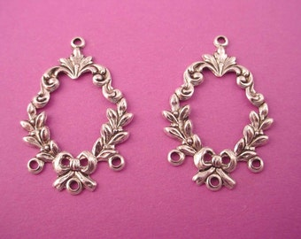 6 silver ox  art nouveau Victorian floral wreath open charm triple loop chandelier 26mm