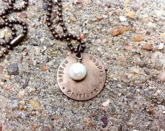 Antiqued Brass Custom Stamped Necklace - Round