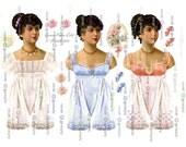 Jane Austen 3 DIGITAL PAPER DOLLs 5 Sheets Jane Austen Emma Elizabeth Dolls Pride Prejudice Download Printable papercrafting Cardmaking