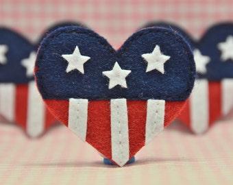Set of 6pcs handmade felt American heart flag (FT1000)