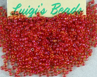 11/0 Round TOHO Glass Seed Beads #241-Rainbow Lt Topaz/Mauve Lined -Use coupon code LUIGIS10 for 10% off