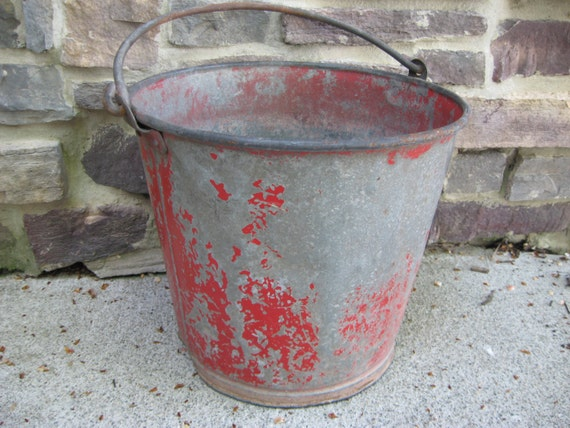 SOLD and RESERVED for Tracy - Red chippy paint, Primitive Metal Planter, Industrial Chic Patio, Porch, Deck Decor, Man Den Man Cave