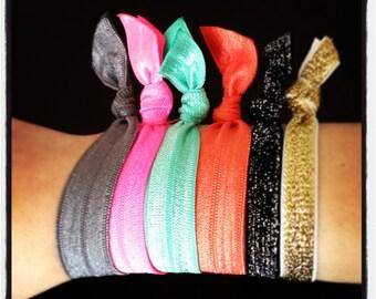 ready to ship 20 hairties SEALED EDGE - hairlettes yoga ties elastic ponytail hair tie bracelets - custom colors- set of 20