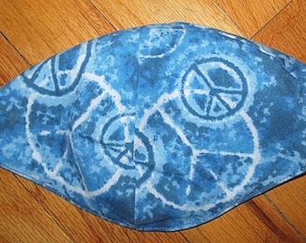 Peace signs kippah blue batik peace signs yarmulke