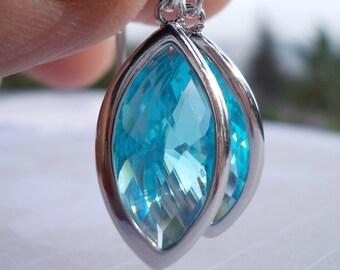 Blue topaz drops long glass earrings 925 sterling silver elegant fancy faceted marquise glass rose cut dangle drop earrings for women