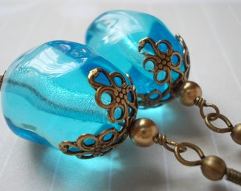 Large Blue Earrings, Caribbean sea ocean blue, glass bead pearl cyan arctic blue, antique brass bronze earrings, drop earrings for women