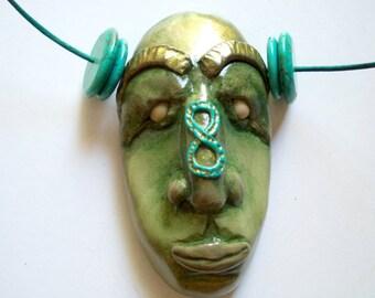 Guardian of Infinity, Necklace Polymer Clay Mask, tribal art pendant, primitive, fimo bead, fetish, spirit, talisman, face, turquoise, jade