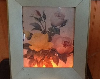 Vintage Cottage Chic Shabby Floral Lighted Picture