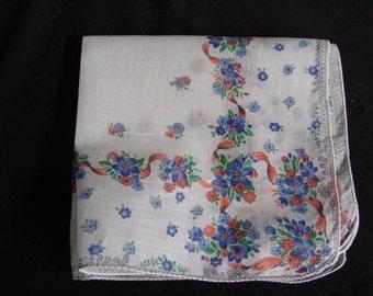 Vintage Blue Flowers and Bows Ladies Print Handkerchief