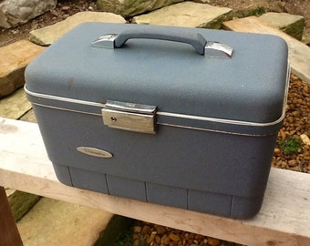VIntage 1960s Era Light Blue Hard Case BLANDON by SEARS Train Case