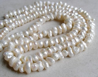 White Freshwater Pearl Beads Two Strands Bargain Button Rondelle Pearl Beads For Beaded Jewelry Making