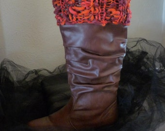 Knitted Boot Cuffs, Boot Toppers FIRE
