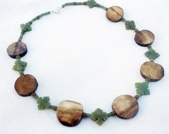 SALE, Serpentine & African Bone Necklace