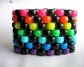 Rainbow, Black Kandi Cuff, Neon Bracelet, Raver Plur,  Diagonal Pattern